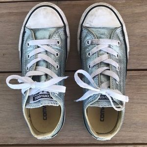 Girls Converse All Stars - Metallic Silver Blue 13